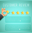 star rating review customer experience hand text vector image