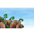 A cliff with trees vector image