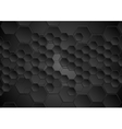 Abstract black background with hexagons texture vector image vector image
