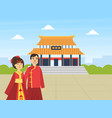 asian couple wearing national clothes standing on vector image vector image