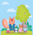 back to school squirrel bear and rabbit vector image vector image
