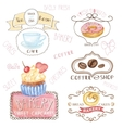 bakerycafe logoswatercolor sweet cakes coffee vector image
