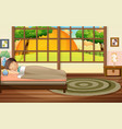 boy sleeping in bedroom vector image vector image