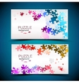 Business cards with mosaic made from puzzle pieces vector image