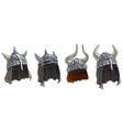 cartoon metal viking helmet with horns set vector image