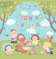 children having picnic at the lawn vector image vector image