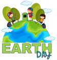 children picking up rubbish earth day poster vector image vector image