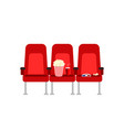 cinema seats in a movie with popcorn drinks and vector image