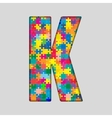 Color Puzzle Piece Jigsaw Letter - K vector image vector image
