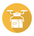 delivery drone yellow flat long shadow glyph icon vector image vector image