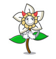 devil jasmine flower mascot cartoon vector image