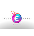 E dots letter logo with bubbles a letter design vector image