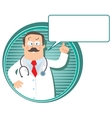 Emblem with funny doctor vector image vector image