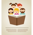 family reading a book with place vector image
