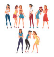 female friends cynically gossiping and giggling vector image vector image