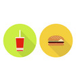 flat cola cup and burger vector image vector image