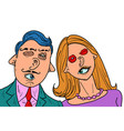 funny couple in love mixed faces eyes mouth ears vector image vector image