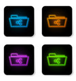 glowing neon share folder icon isolated on white vector image vector image