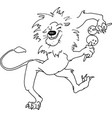 hand drawn lion on a white background vector image