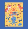 happy birthday card template vector image vector image