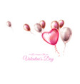 happy valentine day heart balloon ribbon vector image vector image
