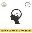 head with brain symbol icon vector image vector image
