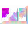 holographic background and memphis figures vector image
