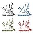 hunting and fishing vintage emblems set vector image vector image