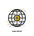 icon gear and globe for international business vector image vector image