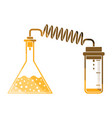 icon of chemistry reaction with two flask vector image vector image