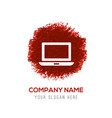 laptop icon - red watercolor circle splash vector image