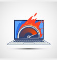 laptop screen with internet speed test icon vector image vector image