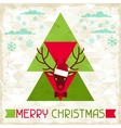 Merry Christmas background with deer in hipster vector image vector image