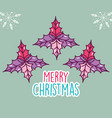 merry christmas celebration leaves decoration vector image vector image