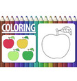 page for coloring cartoon contour apple and vector image vector image