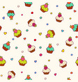 pattern with cupcakes and berries sweet food vector image