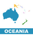 political map of oceania flat vector image vector image