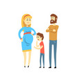 pregnant family couple and their son happy family vector image vector image