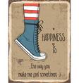 Retro metal sign about happiness vector image