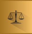 scales of justice icon with shadow on a yellow vector image