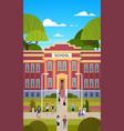 schoolchildren going to school building exterior vector image