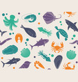 seamless background with pictures of seafood vector image vector image