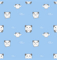 seamless pattern cute baby animals on blue vector image vector image