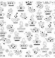 seamless pattern drinking tea monochrome vector image vector image