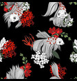 seamless pattern with fish and flowers in graphic vector image