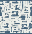 sewing tools seamless pattern in vintage grey vector image vector image
