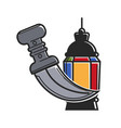 sharp dagger with curved handle and colorful vector image