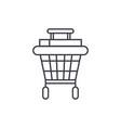 shopping stroller line icon concept shopping vector image