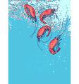 Shrimps in water Drawn sketch doodle Flyer banner vector image vector image