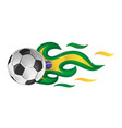 soccer ball on fire with brazil flag vector image vector image